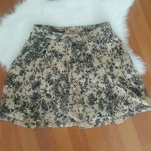 Joe Bonbasset beige black ruffle lace mini skirt M